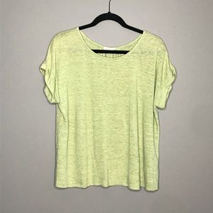 Eileen Fisher lime green linen boxy cuff tee XS